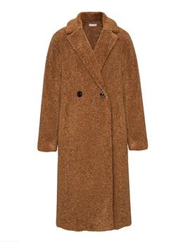 女式翻领羊羔毛长大衣