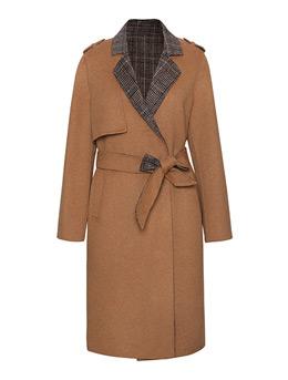 女式手缝毛纺大衣