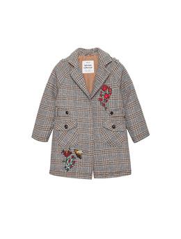 女童刺绣款格毛纺薄棉大衣